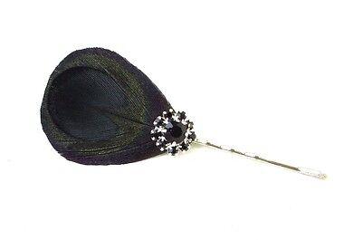 Dark Green Black Lady Amherst Pheasant Feather Hair Clip Fascinator Pin Vtg 672