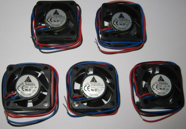 5 x Delta 40 mm - 5 V Fan - 5000 RPM - Delta AFB0405LD - 5V DC - 5.6 CFM - 25 dB