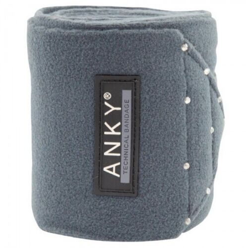 ANKY Bandagen Fleece Glitzer Steine Strass Klett Logo 4er Set grau blau schwarz