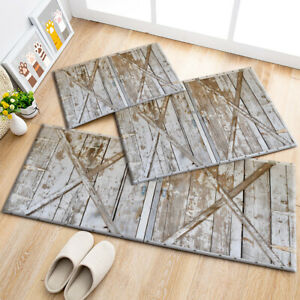 Details About Locked Rustic Wood Barn Door Cross Area Rugs Kitchen Rug Living Room Floor Mat