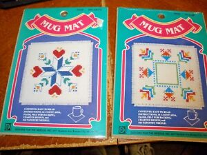 NEW-Designs-for-the-Needle-Lot-of-2-Mug-Mat-Cross-Stitch-Kits-TULIP-amp-HEARTS