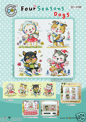 Four seasons Dogs Counted cross stitch chart. Korea sodastitch SO-3196