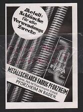 PFORZHEIM, Werbung 1935, Metallschlauch-Fabrik vorm. Hch. Witzenmann GmbH