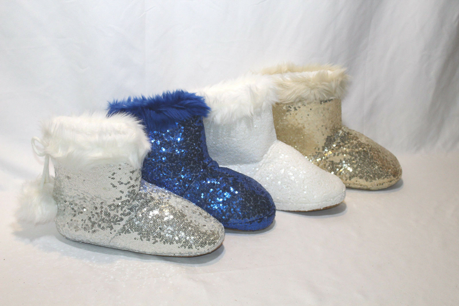 SOFT AND COZY SEQUIN BOOTIE SLIPPERS PICK SIZE & COLOR NW