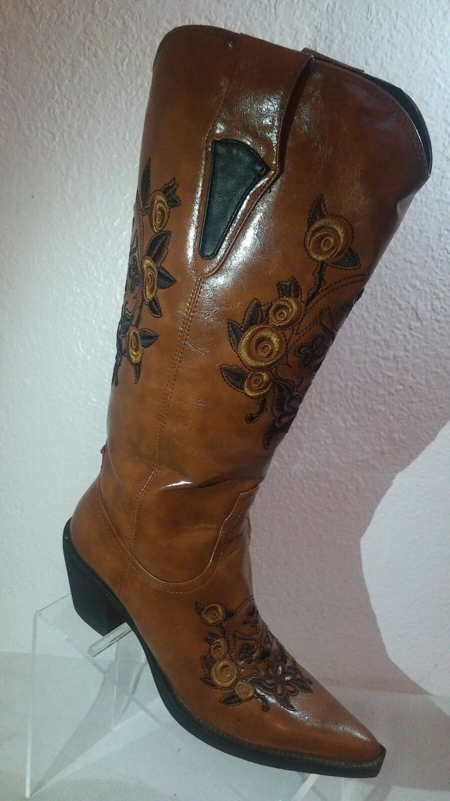 Roper Women Embroidered Faux Leather Cowgirl Slip-on Tan Boots US 7