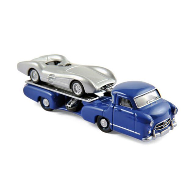 Norev 311000 Mercedes Benz Race Car Transporter+W196 Blue/Silver Scale 1:64 New