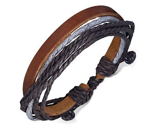 Unisex-Leather-Rope-Bracelets-Wrap-Adjustable-Bangle-Fashion-Brown-Wristband