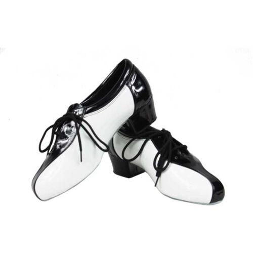 New Men Boys Black White PU Leather Salsa Latin Ballroom Dance Shoes 3.5cm heel