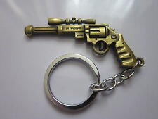 Key chain ring antique bronze gun pendant charm colectors novelty gift