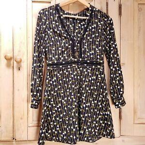Top-Shop-Tea-Dress-8-UK-Petite-Black-Ditsy-Floral-Vintage-90s-Crotchet-Womens