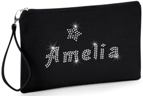 KIDS PERSONALIZED Crystal Clutch Wristlet BAG School Make up Mobile phone