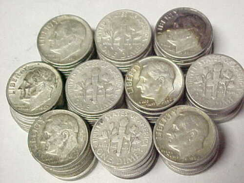 Lot of 100 Roosevelt 90/% Silver Dimes 1946-1964 $10 Face Value