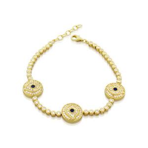 925-Sterling-Silver-Yellow-Gold-Tone-CZ-Evil-Eye-Tennis-Womens-Bracelet