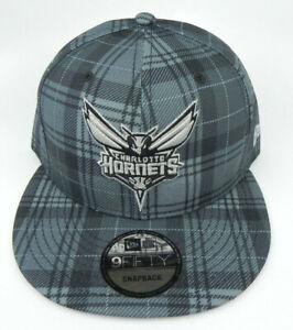 CHARLOTTE-HORNETS-NBA-NEW-ERA-9FIFTY-SNAPBACK-GRAY-PLAID-REG-CROWN-HAT-CAP-NWT