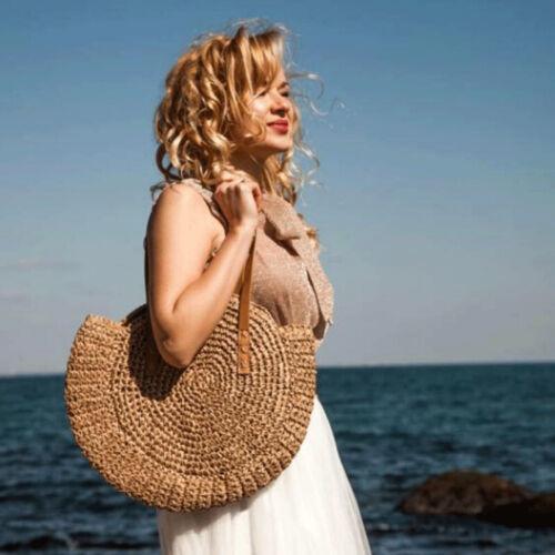 Summer Hand-woven Rattan Round Woman/'s Bag Handbag Shoulder Bag Straw Beach Bag