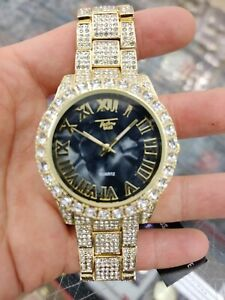 Fully Iced Watch Bling Rapper Simulate Lab Diamond Gold Black Metal Band Luxury
