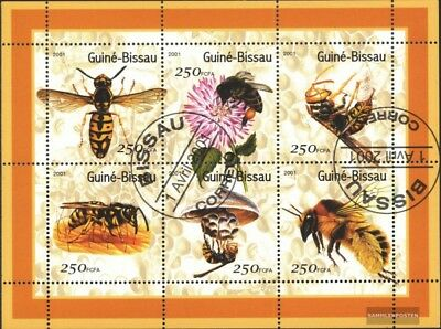 Used 2001 Bee Save 50-70% complete Issue United Guinea-bissau 1510-1515 Sheetlet