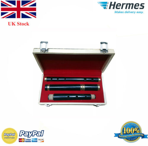 """Irish Professional Tunable African Wood D Flute with Hard Case 23/"""" Length 4 Pcs"""