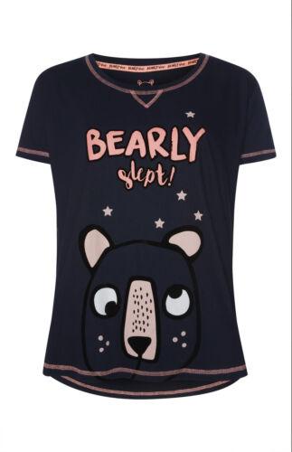 PRIMARK Bearly Slept T Shirt PJ womens PYJAMAS Sizes 6-20