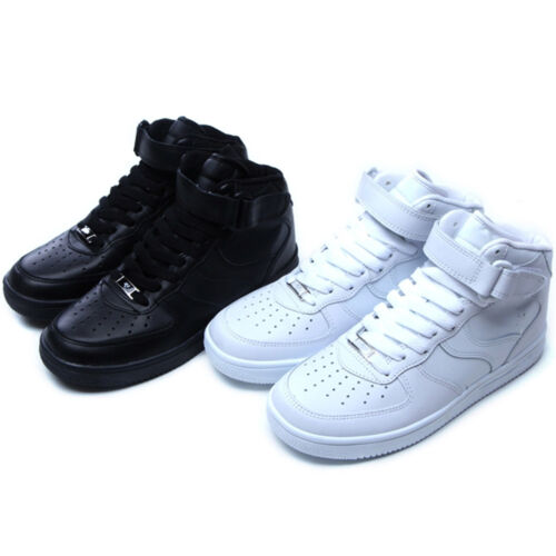 Epicsnob Mens Shoes High Top Belt Lace Up Fashion Athletic Sneakers White Black
