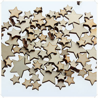 50pc WOODEN MINI MIXED WOOD STARS DECOR IDEAL ART CRAFT CARD MAKING SCRAPBOOKING