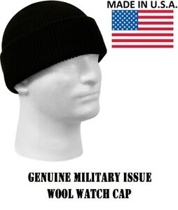 1dde29792e59c6 Black Military Issue Wool Watch Cap 100% Wool Skiing Beanie Hat ...