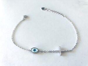 925-Sterling-Silver-Evil-Eye-Mati-Nazar-MOP-Cross-Cubic-Zirconia-CZ-Bracelet