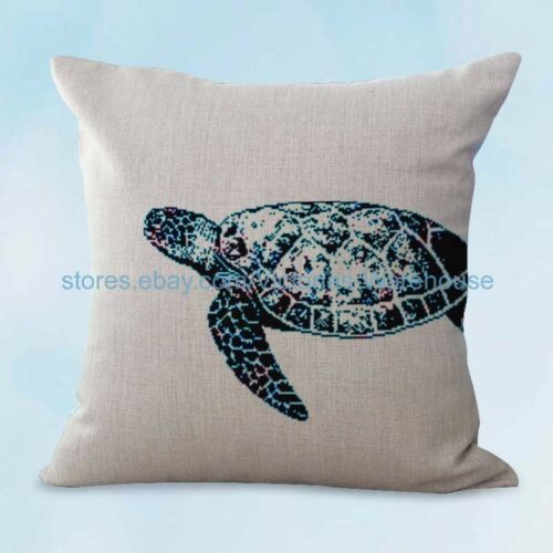 US SELLER, decor pillow beach costal seaside ocean sea life turtle cushion cover