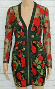 Missguided-Red-rose-patterned-dress-Size-6-C293