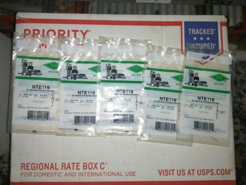 Lot of 5 NTE NTE116 SI Rectifier PRV=600v IF1A D041 ECG116 GE-504A SK3313