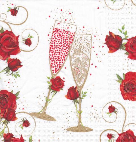 4 Lunch Servietten To Love basteln Liebe Rosen Sekt Feier Verlobung Hochzeit