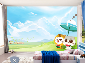 3D Gras Katze Karikatur 7560 Tapete Wandgemälde Tapeten Bild Familie DE Summer