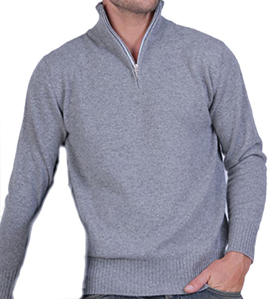 Balldiri 100% Cashmere Herren Pullover Troyer 2 fädig grau XL