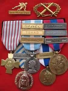 médaille 5 décorations en barrette parachutiste 2°REP Légion étrangère + insigne
