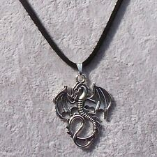 Lord Of The Ring Hobbit Smaug Tibetan Silver Dragon Pendant Black Suede Necklace