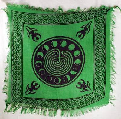 "Green Moon Phase Altar/Tarot Cloth 18"" x18"" Wicca Pagan"