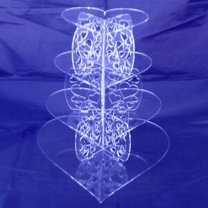 Four-Tier-Clear-Acrylic-Heart-Pillars-Wedding-amp-Party-Cake-Stand
