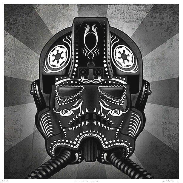 """2.5"""" Star Wars TIE Fighter Pilot Sugar skull vinyl bumper STICKER. Empire Vader"""