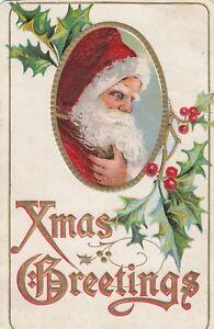 Vintage Greeting Card Christmas Santa Claus Smiling Holly mb