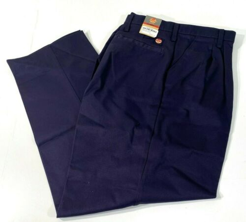 NEW MENS RED KAP PLEATED FRONT COTTON PANTS PC46 NAVY 40x32