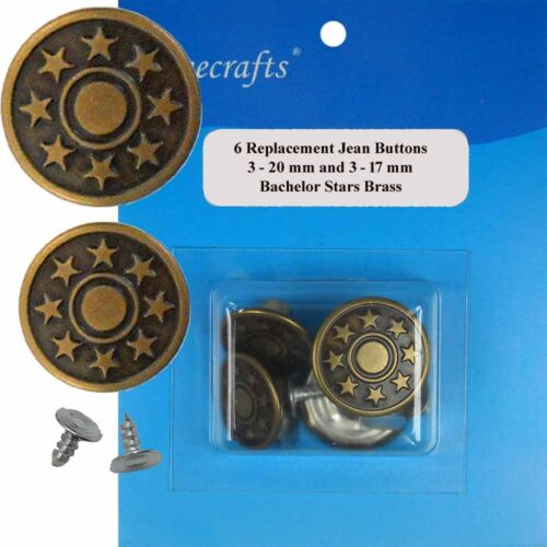 CBO24 6 CT. 17-20 mm No-Sew Replacement Jean Tack Buttons