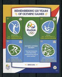 St Vincent & Grenadines 2016 Neuf Sans Charnière Jeux Olympique Rio 2016 4v Ms Ii Jeux Olympiques Timbres-afficher Le Titre D'origine