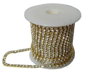 Strassband-Crystal-Gold-Brillantschliff-mit-Kristall-SS12-3mm-1-m-Strasskette