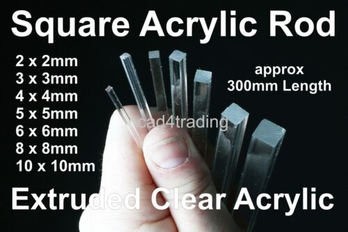Square Clear Acrylic Rod 2-10mm 300mm Length Modelmaking Jewelry Art & Craft