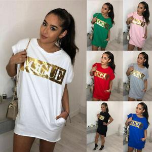 Women-Summer-Letter-Long-Tops-Blouse-Ladies-Short-Sleeve-Pocket-T-Shirt-Dress-UK