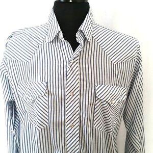 Ruddock-Flying-R-Pearl-Snap-Shirt-Western-Blue-White-Stripe-Vintage-L-or-XL