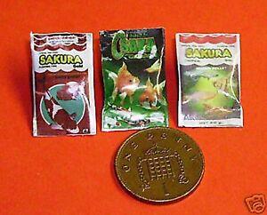 1-12-Scale-3-Fish-Food-Packet-039-s-Dolls-House-Miniature-Pond-Aquarium-Accessory
