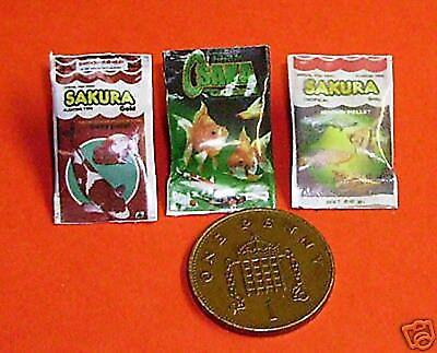 1:12 Scala 3 Cibo Per Pesci Packet's Dolls House Miniatura In Stagno Acquario Accessorio-mostra Il Titolo Originale