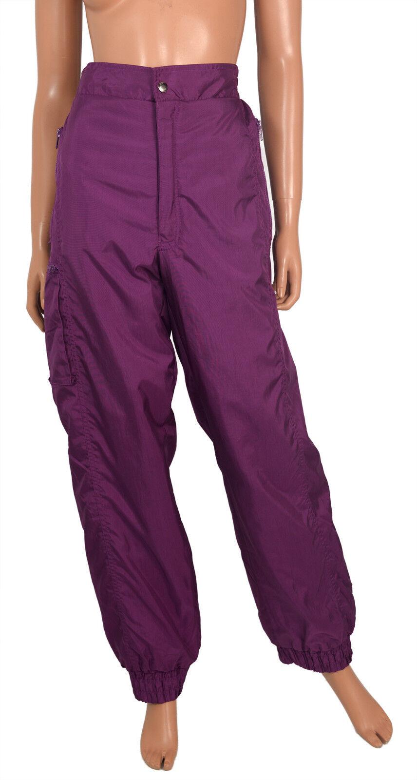 Downhill Racer SKI PANTS Purple Nylon Insulated Vtg Snow Comfort Fit Ladies L