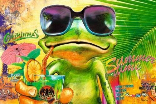 Poster Cooler Frosch mit Sonnenbrille Cocktail Mojito 91,5 x 61 cm
